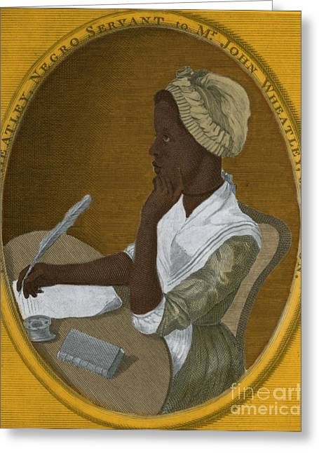 Negro Greeting Cards - Phillis Wheatley, African-american Poet Greeting Card by Photo Researchers