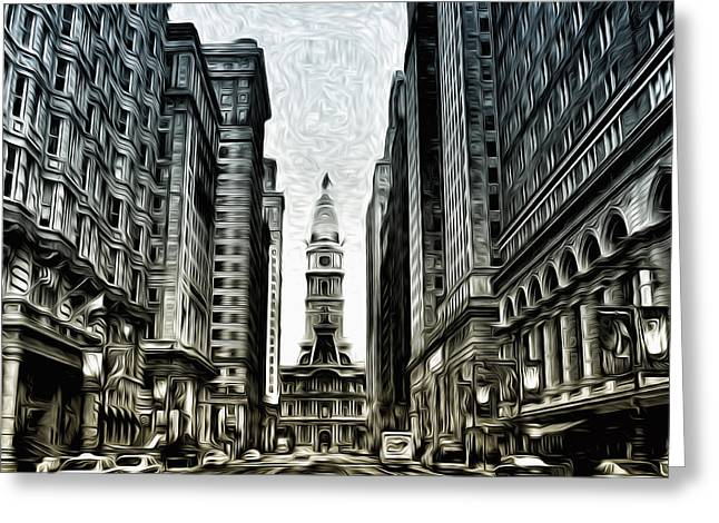 Broad Street Digital Art Greeting Cards - Philly - Broad Street Greeting Card by Bill Cannon