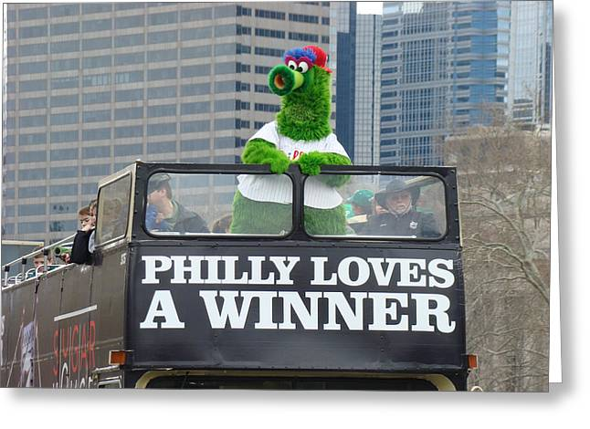 Phanatic Greeting Cards - Philly Loves A Winner Greeting Card by Alice Gipson