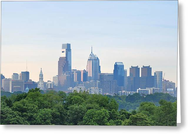 Phillies Digital Greeting Cards - Philly Skyline Greeting Card by Bill Cannon