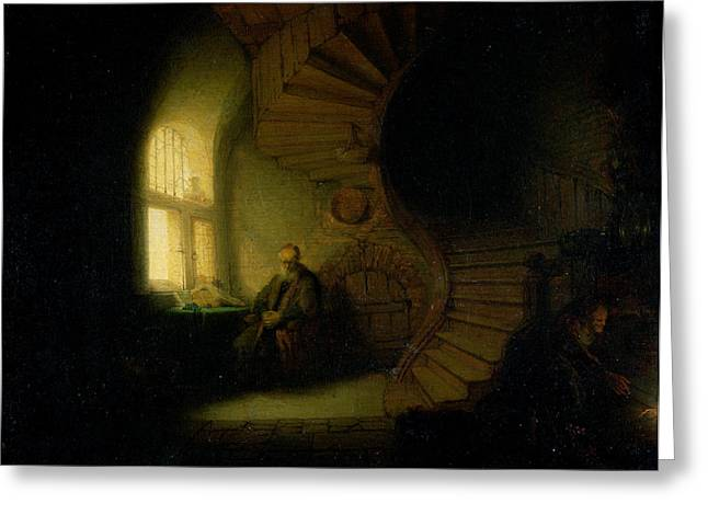 Curved Greeting Cards - Philosopher in Meditation Greeting Card by Rembrandt