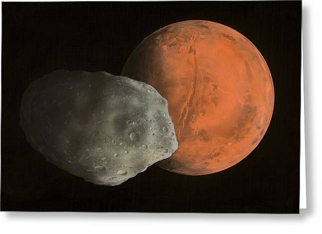 Phobos Greeting Cards - Phobos And Mars, Artwork Greeting Card by Richard Bizley
