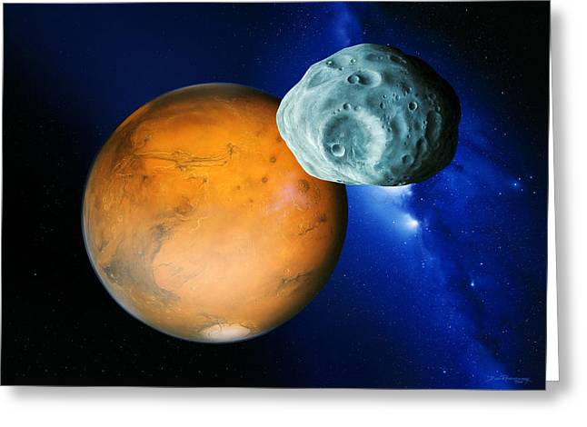 Phobos Greeting Cards - Phobos And Mars Greeting Card by Detlev Van Ravenswaay