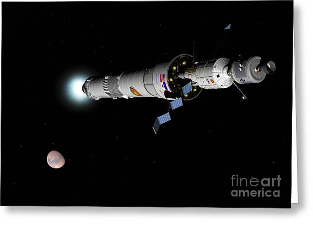 Phobos Greeting Cards - Phobos Mission Rocket Brakes For Mars Greeting Card by Walter Myers