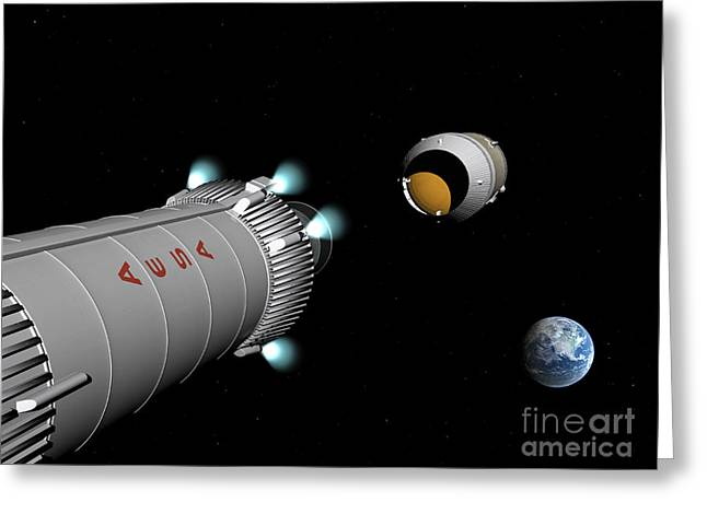 Astronautics Greeting Cards - Phobos Mission Rocket Releases Spent Greeting Card by Walter Myers