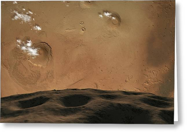 Phobos Greeting Cards - Phobos Orbits So Close To Mars That Greeting Card by Ron Miller