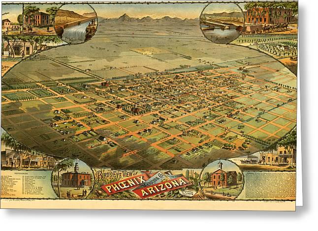 Phoenix Arizona 1885 Greeting Card by Donna Leach