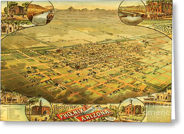 Conversations Drawings Greeting Cards - Phoenix Arizona Territory Greeting Card by Pg Reproductions