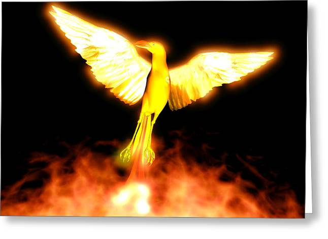 Yang Greeting Cards - Phoenix Greeting Card by Christian Darkin