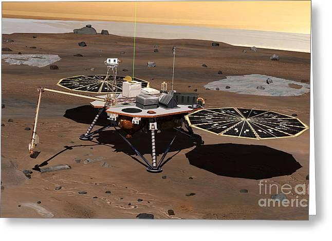 Analyze Greeting Cards - Phoenix Mars Lander Greeting Card by Stocktrek Images