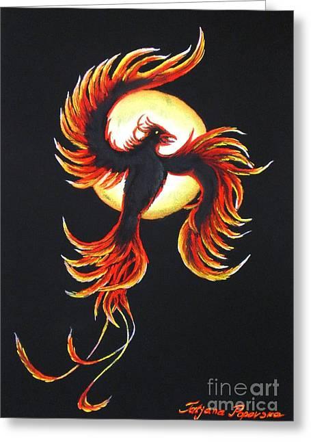 Most Viewed Drawings Greeting Cards - Phoenix Greeting Card by Tatjana Popovska