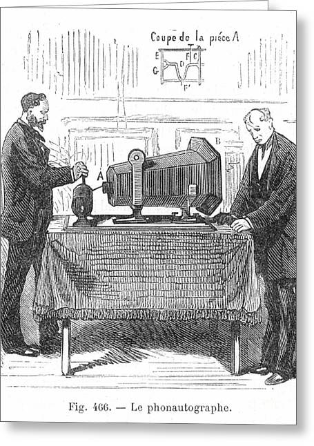 Martinville Greeting Cards - PHONAUTOGRAPH, c1857 Greeting Card by Granger