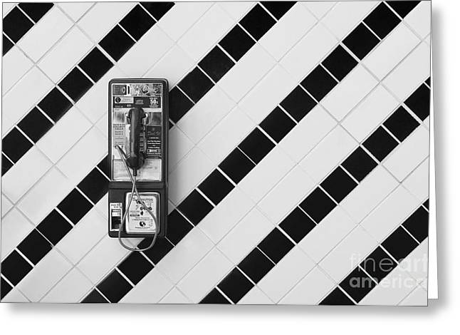 Tiled Greeting Cards - Phone And Lines Greeting Card by Dan Holm
