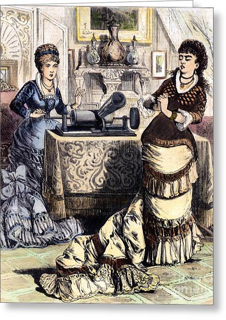 1880s Greeting Cards - PHONOGRAPH, c1880 Greeting Card by Granger