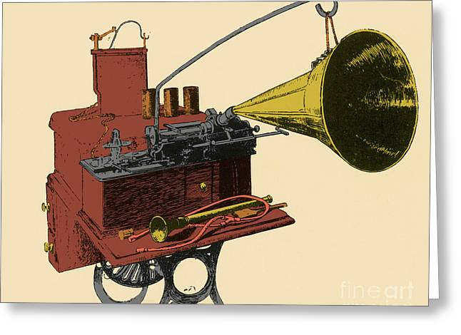Phonograph Greeting Card by Science Source