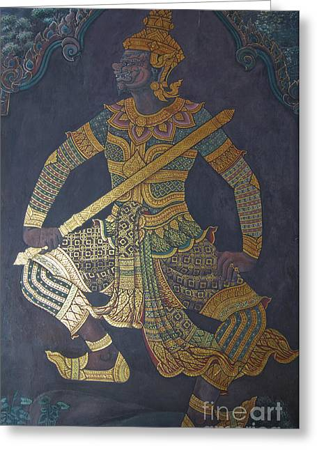 European Pyrography Greeting Cards - photo of art painting on Thai temple wall Greeting Card by Komkrit Muanchan