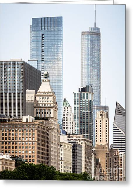 Chicago Loop Greeting Cards - Photo of Chicago Buildings Along Michigan Avenue Greeting Card by Paul Velgos