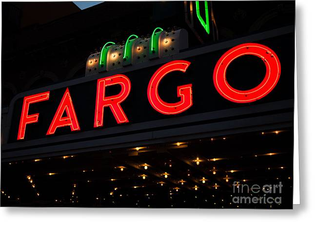 Theater Greeting Cards - Photo of Fargo Theater Sign at Night Greeting Card by Paul Velgos