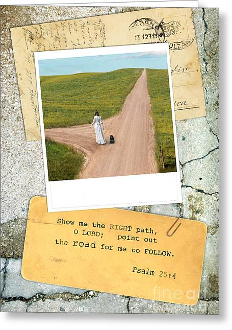 Cement Greeting Cards - Photo of Lady on Road with Bible Verse Greeting Card by Jill Battaglia