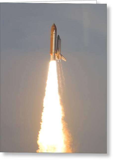 Atlantis Greeting Cards - Photo Of Space Shuttle Atlantis Greeting Card by Mike Theiss