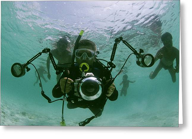 Adult And Child Greeting Cards - Photographer With Camera Underwater Greeting Card by Nicolas Reynard