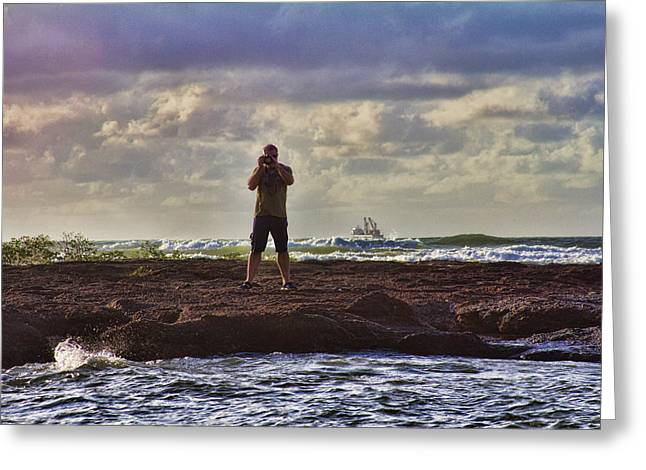 Self-portrait Greeting Cards - Photographing Seaside Life Greeting Card by Douglas Barnard