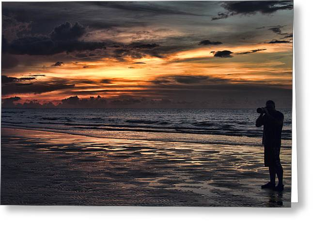Self-portrait Photographs Greeting Cards - Photographing Sunsets Greeting Card by Douglas Barnard