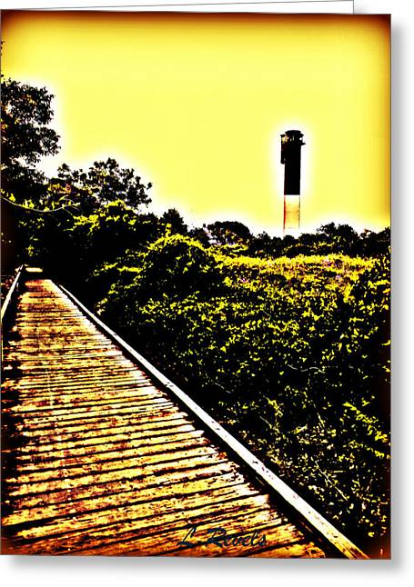 Charleston Pathway Greeting Cards - Photos in an Attic - Lighthouse Greeting Card by Leslie Revels Andrews