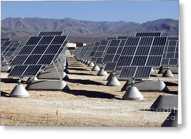 Power Plants Greeting Cards - Photovoltaic Solar Power Plant Greeting Card by Stocktrek Images