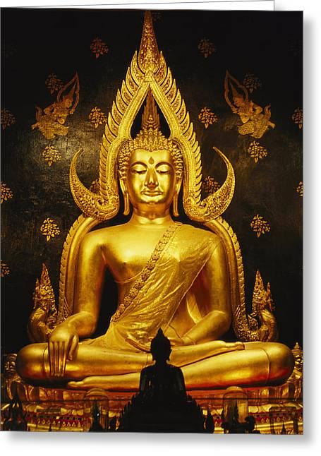 Gilding Greeting Cards - Phra Phuttha Chinnarat Buddha Greeting Card by Martin Gray