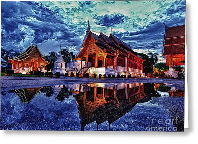 Reflex Greeting Cards - Phra Singh temple twilight time Greeting Card by Panupong Roopyai