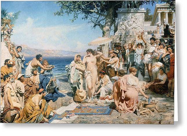 1843 Greeting Cards - Phryne at the Festival of Poseidon in Eleusin Greeting Card by Henryk Siemieradzki