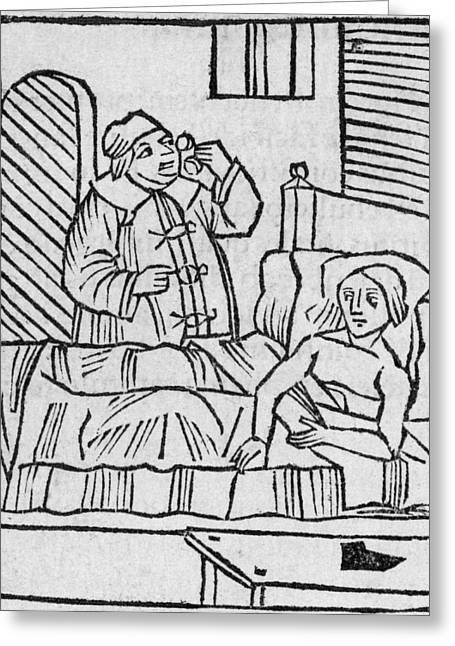 Hippocratic Greeting Cards - Physician Examining Patients Urine Greeting Card by Middle Temple Library