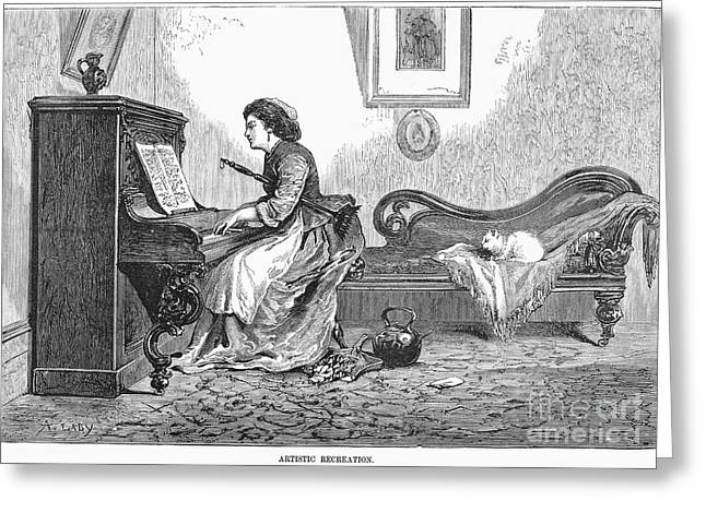 1876 Greeting Cards - Pianist, 1876 Greeting Card by Granger