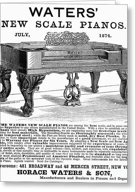 Piano Advertisement, 1874 Greeting Card by Granger