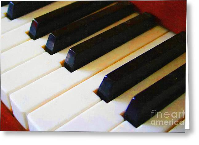 Wood Instruments Greeting Cards - Piano Keys . v2 Greeting Card by Wingsdomain Art and Photography