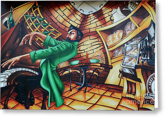 Piano Man 2 Greeting Card by Bob Christopher