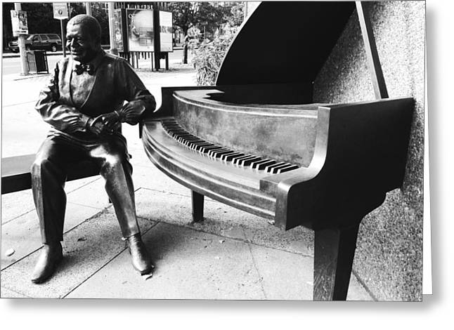 Buildings Sculptures Greeting Cards - Piano Man Greeting Card by Kevin Gilchrist