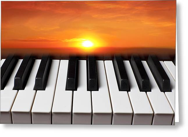 Piano Keys Greeting Cards - Piano sunset Greeting Card by Garry Gay