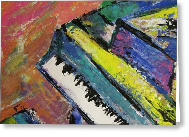Piano with Yellow Greeting Card by Anita Burgermeister
