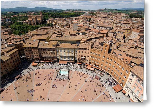 Sienna Italy Photographs Greeting Cards - Piazza Del Camp In The Center Greeting Card by Joel Sartore
