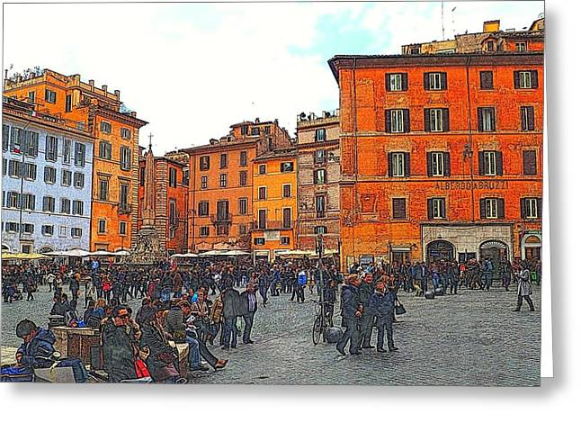 Art Of Building Greeting Cards - Piazza della Rotunda in Rome 2 Greeting Card by Jen White