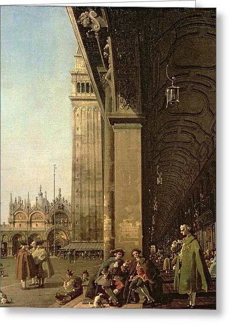 1768 Greeting Cards - Piazza di San Marco and the Colonnade of the Procuratie Nuove Greeting Card by Canaletto