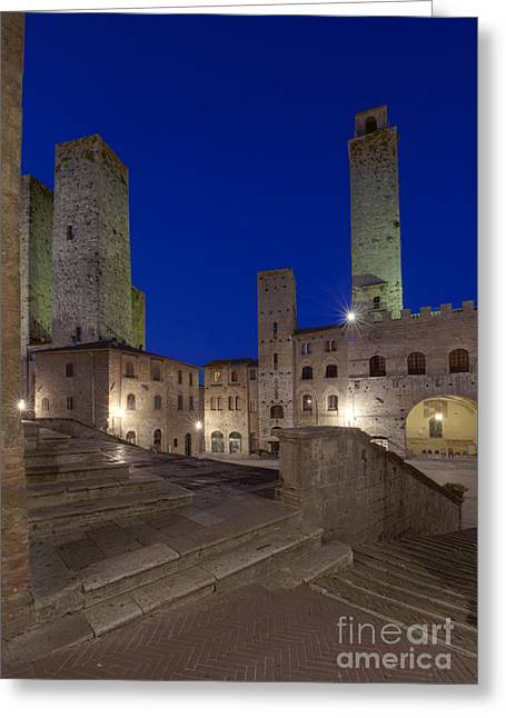 Tuscan Dusk Photographs Greeting Cards - Piazza Duomo at Dusk Greeting Card by Rob Tilley