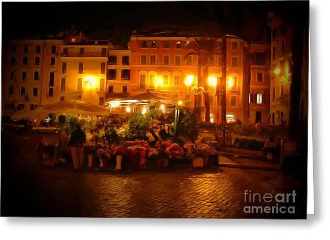 Streetlight Digital Art Greeting Cards - Piazza Flower Vendor Greeting Card by Michael Garyet
