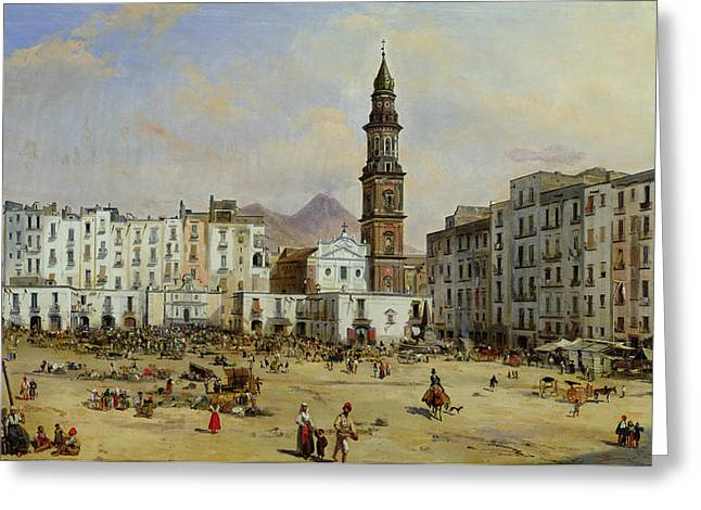 Italian Street Greeting Cards - Piazza Mazaniello in Naples Greeting Card by Jean Auguste Bard