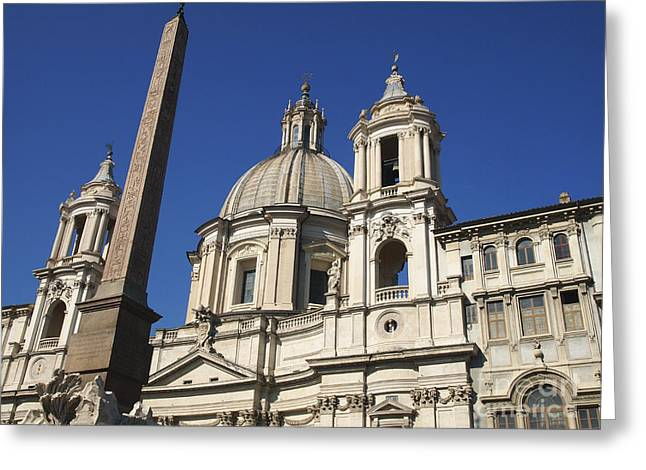 Piazza Navona. Navona Place. Church St. Angnese in Agona and egyptian obelisk. Rome Greeting Card by BERNARD JAUBERT