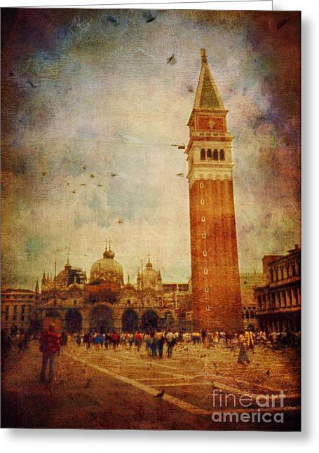 Ambience Greeting Cards - Piazza San Marco - Venice Greeting Card by Silvia Ganora