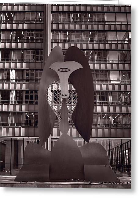 Public Art Greeting Cards - Picasso Chicago BW Greeting Card by Steve Gadomski
