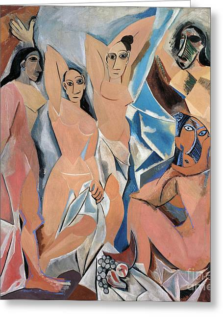Pablo Paintings Greeting Cards - Picasso Demoiselles 1907 Greeting Card by Granger